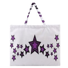 Star Purple Space Zipper Large Tote Bag by Mariart