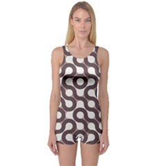 Seamless Geometric Circle One Piece Boyleg Swimsuit