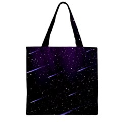 Starry Night Sky Meteor Stock Vectors Clipart Illustrations Zipper Grocery Tote Bag by Mariart