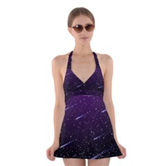 Starry Night Sky Meteor Stock Vectors Clipart Illustrations Halter Swimsuit Dress by Mariart