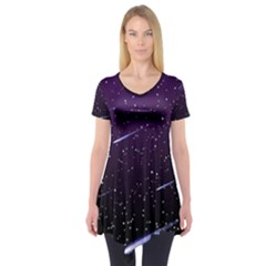 Starry Night Sky Meteor Stock Vectors Clipart Illustrations Short Sleeve Tunic  by Mariart