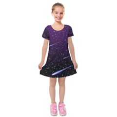 Starry Night Sky Meteor Stock Vectors Clipart Illustrations Kids  Short Sleeve Velvet Dress by Mariart