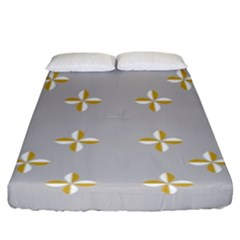 Syrface Flower Floral Gold White Space Star Fitted Sheet (king Size) by Mariart