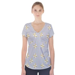 Syrface Flower Floral Gold White Space Star Short Sleeve Front Detail Top