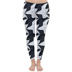 Swan Black Animals Fly Classic Winter Leggings by Mariart