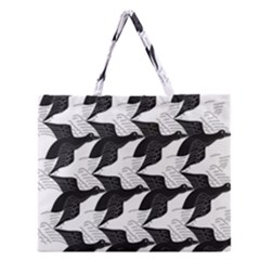 Swan Black Animals Fly Zipper Large Tote Bag by Mariart