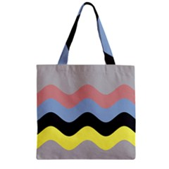 Wave Waves Chevron Sea Beach Rainbow Zipper Grocery Tote Bag by Mariart