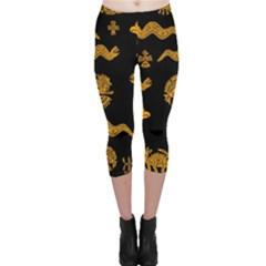 Aztecs Pattern Capri Leggings