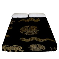 Aztecs Pattern Fitted Sheet (king Size) by Valentinaart