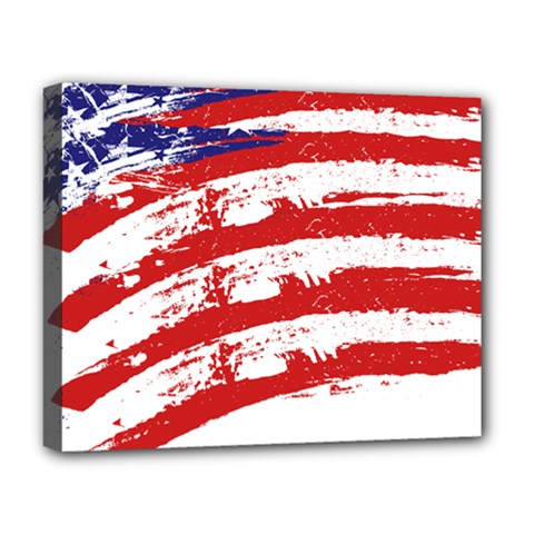 American Flag Deluxe Canvas 20  X 16   by Valentinaart
