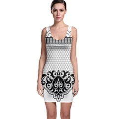Transparent Lace Decoration Sleeveless Bodycon Dress