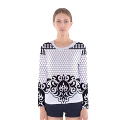 Transparent Lace Decoration Women s Long Sleeve Tee