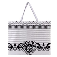 Transparent Lace Decoration Zipper Large Tote Bag by Nexatart