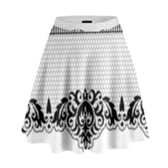 Transparent Lace Decoration High Waist Skirt