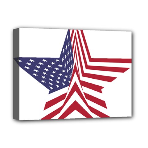 A Star With An American Flag Pattern Deluxe Canvas 16  X 12