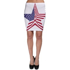 A Star With An American Flag Pattern Bodycon Skirt