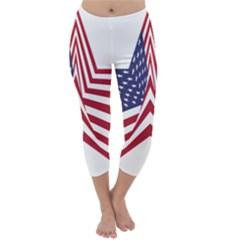 A Star With An American Flag Pattern Capri Winter Leggings