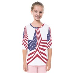 A Star With An American Flag Pattern Kids  Quarter Sleeve Raglan Tee