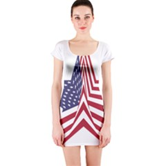 A Star With An American Flag Pattern Short Sleeve Bodycon Dress