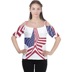 A Star With An American Flag Pattern Women s Cutout Shoulder Tee