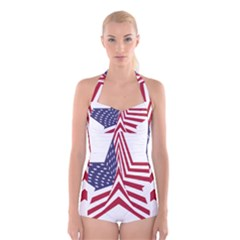 A Star With An American Flag Pattern Boyleg Halter Swimsuit