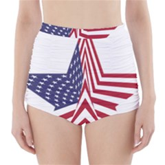 A Star With An American Flag Pattern High Waisted Bikini Bottoms