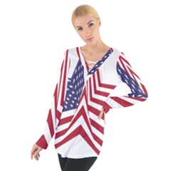 A Star With An American Flag Pattern Women s Tie Up Tee