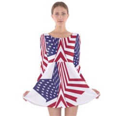 A Star With An American Flag Pattern Long Sleeve Velvet Skater Dress by Nexatart