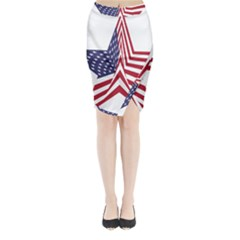A Star With An American Flag Pattern Midi Wrap Pencil Skirt