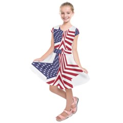 A Star With An American Flag Pattern Kids  Short Sleeve Dress