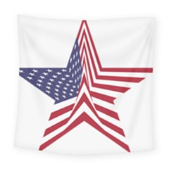 A Star With An American Flag Pattern Square Tapestry (large)
