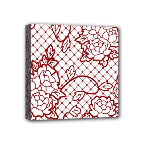 Transparent Decorative Lace With Roses Mini Canvas 4  X 4