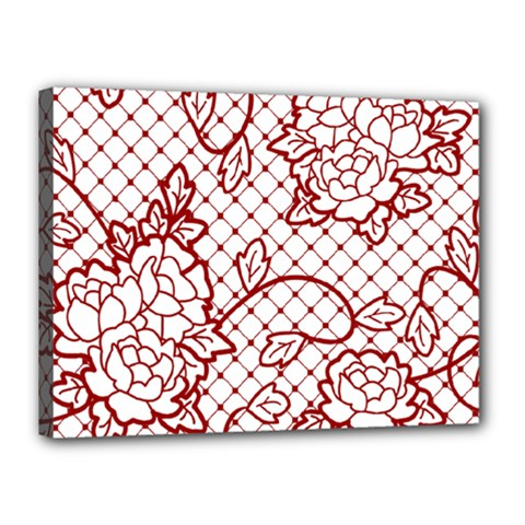 Transparent Decorative Lace With Roses Canvas 16  X 12  by Nexatart