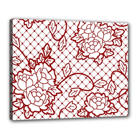 Transparent Decorative Lace With Roses Canvas 20  X 16