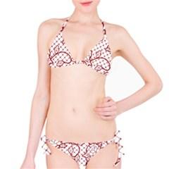 Transparent Decorative Lace With Roses Bikini Set