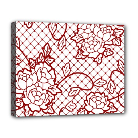 Transparent Decorative Lace With Roses Deluxe Canvas 20  X 16   by Nexatart