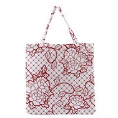 Transparent Decorative Lace With Roses Grocery Tote Bag by Nexatart
