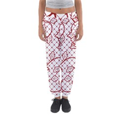 Transparent Decorative Lace With Roses Women s Jogger Sweatpants
