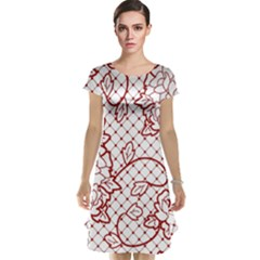 Transparent Decorative Lace With Roses Cap Sleeve Nightdress