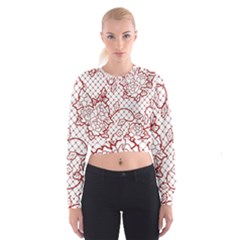 Transparent Decorative Lace With Roses Cropped Sweatshirt