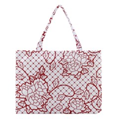 Transparent Decorative Lace With Roses Medium Tote Bag