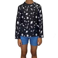 Space Pattern Kids  Long Sleeve Swimwear by ValentinaDesign