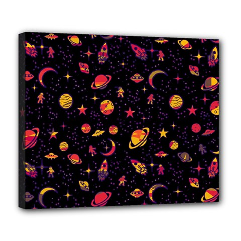 Space Pattern Deluxe Canvas 24  X 20   by ValentinaDesign