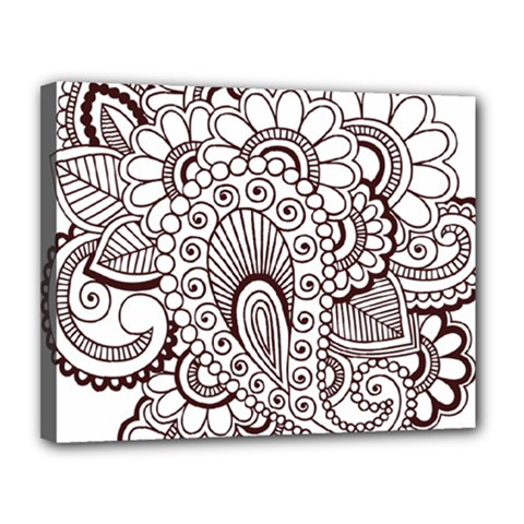Henna Line Art Clipart Canvas 14  X 11