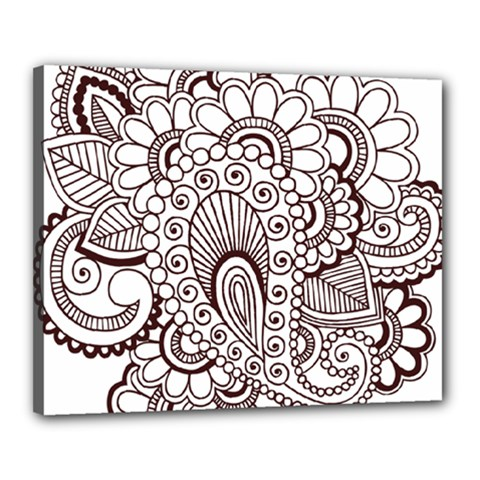 Henna Line Art Clipart Canvas 20  X 16  by Nexatart