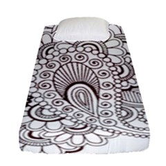 Henna Line Art Clipart Fitted Sheet (single Size)