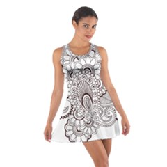 Henna Line Art Clipart Cotton Racerback Dress