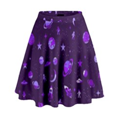 Space Pattern High Waist Skirt by ValentinaDesign
