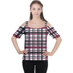 Plaid Pattern Women s Cutout Shoulder Tee by ValentinaDesign