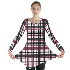 Plaid Pattern Long Sleeve Tunic  by ValentinaDesign